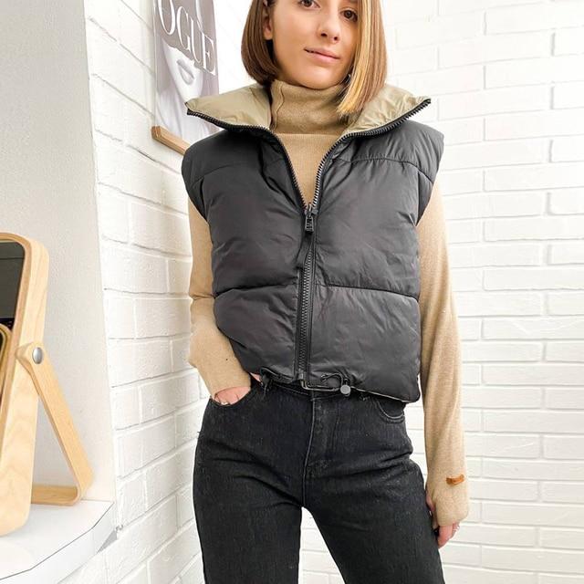 2021 Autumn Winter Women Fashion Double-Sided Jacket Coat Vintage Black Warm Sleeveless Cotton Outwear Female Casual Short Tops 2