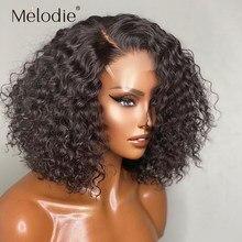 Melodie curto bob onda profunda peruca 4x4 5x5 6x6 fechamento do laço peruca solta água encaracolado cabelo frontal perucas de cabelo humano para preto