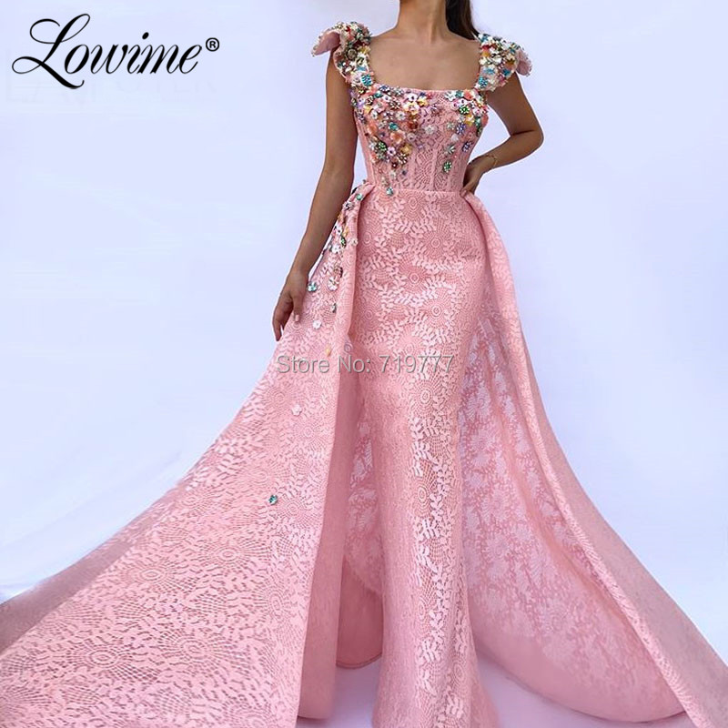 Lace Pink Evening Dresses Formal Capped Sleeves Crystals Beaded Prom Gowns Saudi Arabic Kaftans Pageant Vestido Long Party Dress