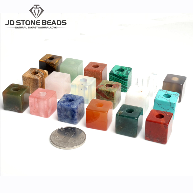 1pc Natural Stone Big Holes Beads Square Shape 16mm Spacer Beads For DIY DIY Jewelry Accessories
