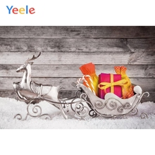 Yeele Christmas Photocall Snow Elk Sled Gifts Wood Photography Backdrops Personalized Photographic Backgrounds For Photo Studio