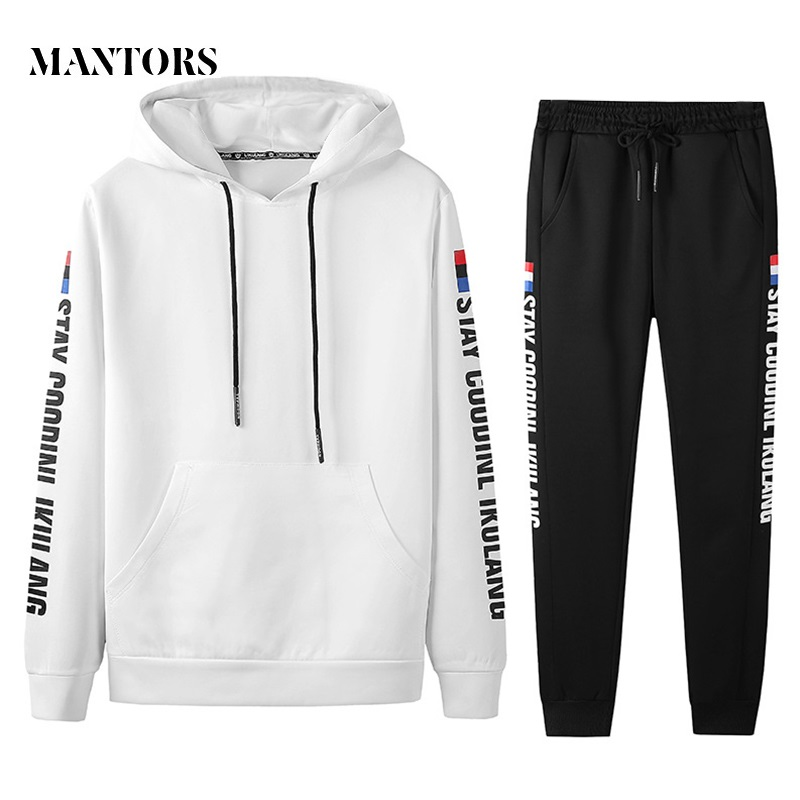 2019 New Men Set Casual Tracksuit Spring Men's Sportswear Solid Hooded Sporting Suit Male Sweatshirts+Pants 2PCS Sets Printing