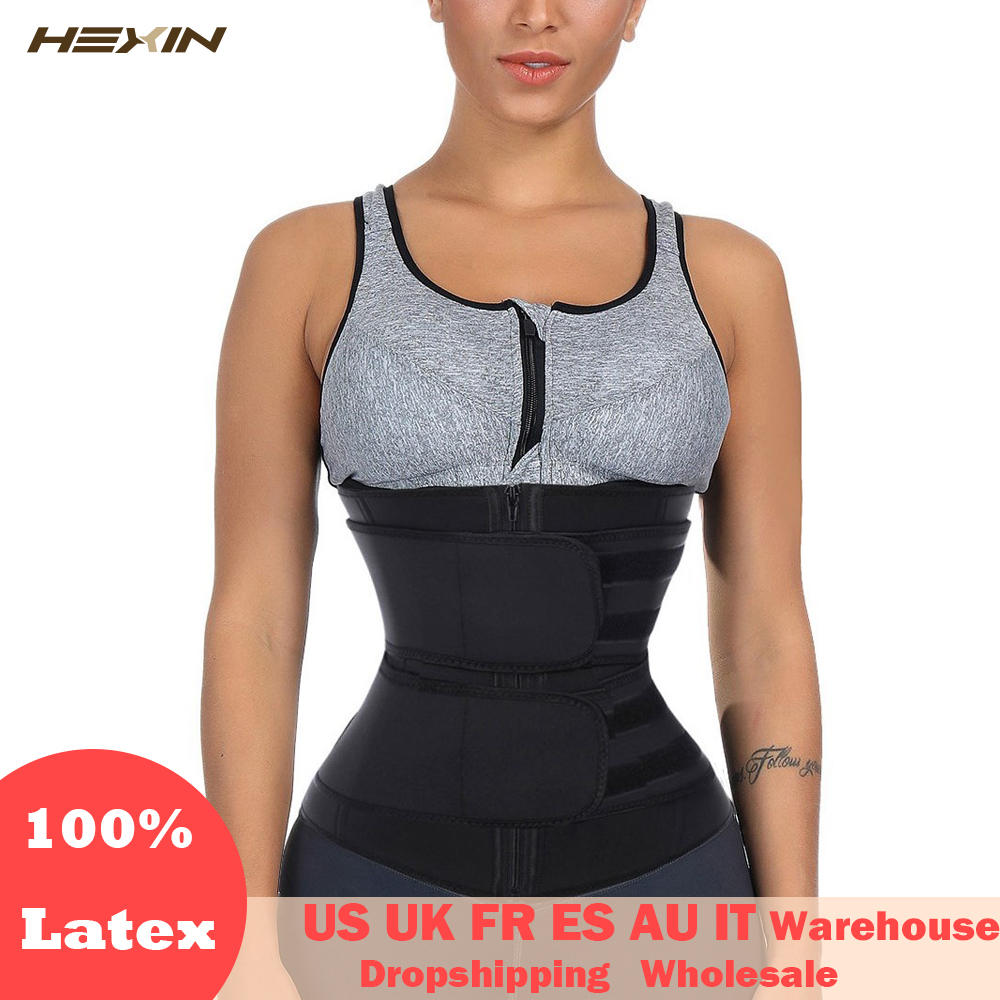 HEXIN Double Belt 100% Latex Waist Trainer Body Shapers Fitness Waist Trainer Zipper Shapewear Slimming Belt Fajas Colombianas