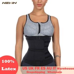Image 1 - HEXIN Double Belt 100% Latex Waist Trainer Body Shapers Fitness Waist Trainer Zipper Shapewear Slimming Belt Fajas Colombianas