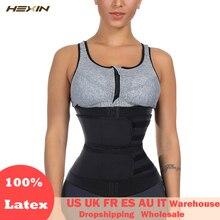 Hexin cinta modeladora de corpo, cinto treinador de cintura dupla 100% látex, faixa emagrecedora