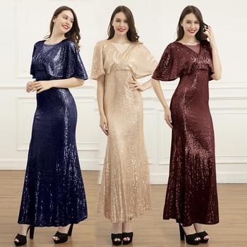 New Fashion Women Dress Sequined V-Neck Half Sleeve Maxi Sexy Burgundy Memaid Long Party Vestidos De Festa 2020