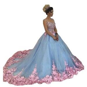 Image 2 - 2020 balo açık gökyüzü mavi Quinceanera elbise pembe 3D çiçekler aplikler v yaka kolsuz balo parti törenlerinde tatlı 16