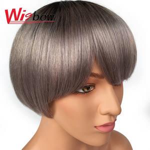 Wigs Short Cheep Human-Hair Woman Brazilian Black for Remy Bob Ladies