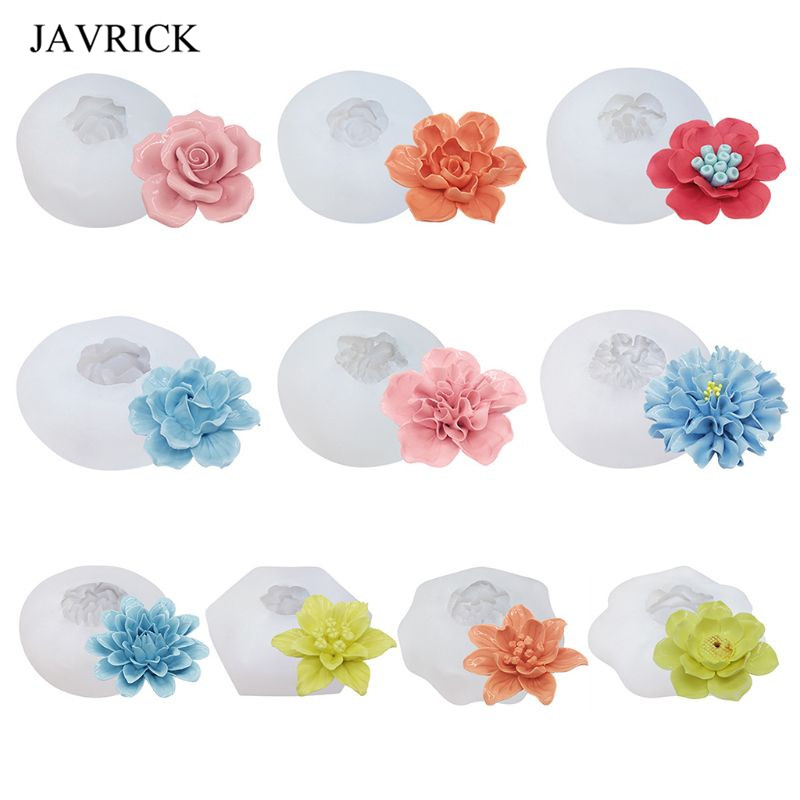 DIY Crystal Epoxy Mold 3D Flower Shape High Mirror Silicone Mould Aroma Scented Candle Cake Decoration Making Molds
