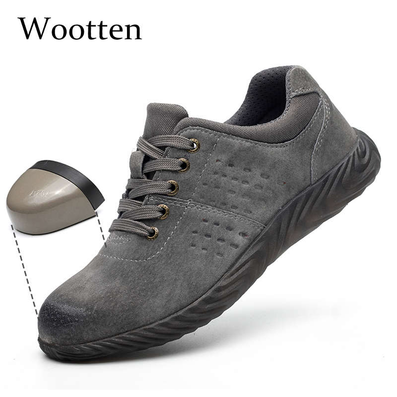 Plus Size Men Work Shoes Leather Breathable Construction Outdoor Stab-resistant Cap Toe Steel Indestructible Safety Shoes #LD868