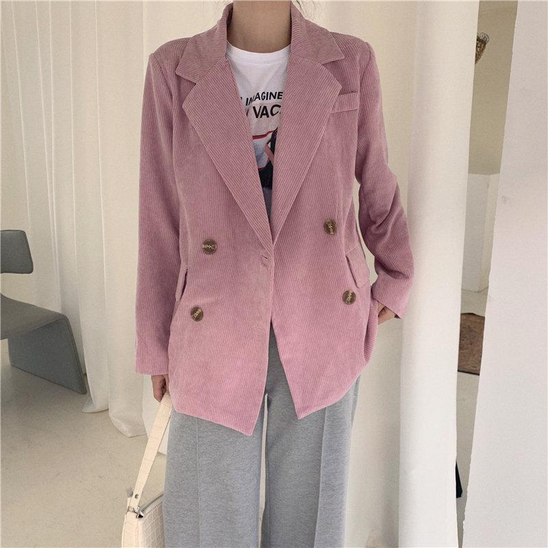 HziriP All Match Office Lady Slender Thin Vintage Casual Elegant Loose Corduroy 2020 Feminine Women Woolen High Street Blazers