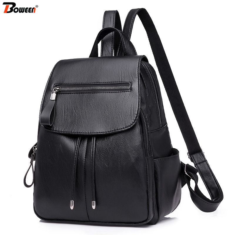 Small Backpack Women Leather Black Soft Pu High Quality 2020 Female Bagpack For Teenage Girl Bags Casual Ladies Back Pack