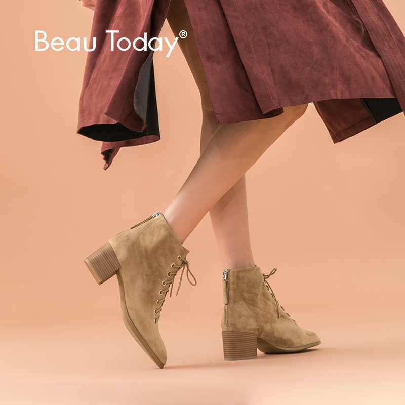 BeauToday Enkellaars Vrouwen Kid Suède Ronde Neus Lace-Up Hoge Hak Laarzen Herfst Winter Dames Schoenen Handgemaakte 03361