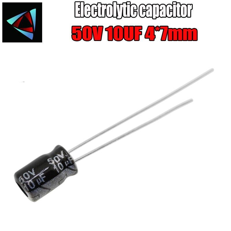 50PCS Higt Quality 50V 10UF 4-7mm 10UF 50V 4*7 Electrolytic Capacitor
