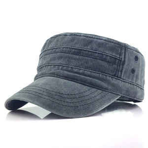 Image 2 - Classic Vintage Flat Top Mens Washed Caps Hat Adjustable Fitted Thicker Cap Military Hats For Men Casquette gorra hombre
