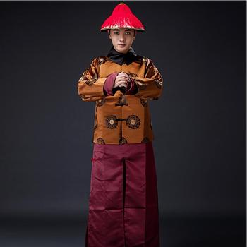 Film TV cosplay stage ancient  Qing Dynasty handsome Migthy Guard Service prince talent male men costume hat+jacket+skirt new arrival film performance wear blue embroidered dragon brocade the qing dynasty prince clothes chinese ancient costume male