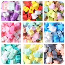 50 Pcs Baby Silicone Star Heart Beads Teether Food Grade Silicone Beads Pacifier