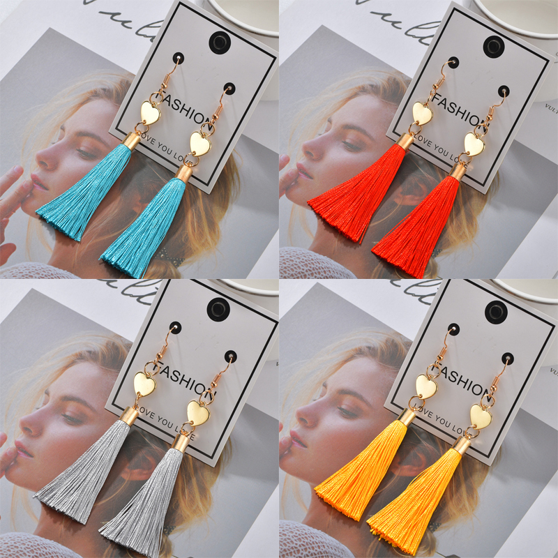 H1f03075f1f9a4c32b25123b3071722eau - Bohemian Heart Tassel Long Drop Earrings BOHO Pink Blue Silk Fabric Design Dangle Earrings For Women Jewelry Gift Christmas