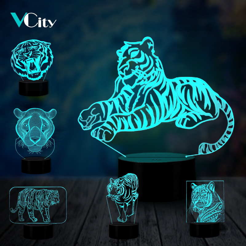 VCity Tiger Series 3D Animal Nightlight Abstract Acrylic Lamparas USB LED Illusion Lamp Man Boy's Gift Bedroom Sleeping Lighting