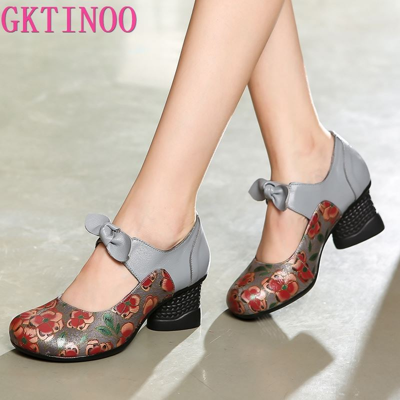GKTINOO Retro New Autumn Bow Handmade Genuine Leather Shoes Woman Fashion Shoes Women High Heel Shoes Non-slip Lady Pumps