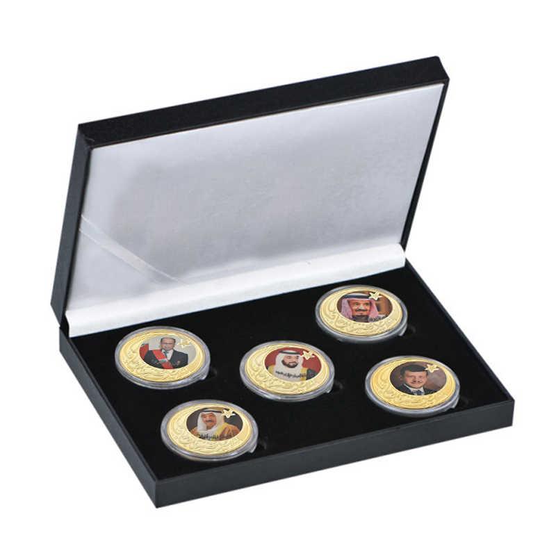 WR lider w dubaju w zjednoczonych emiratach arabskich pozłacane monety kolekcje oryginalna moneta zestaw z uchwytem pamiątkowy medal prezent zestaw Dropshipping2019