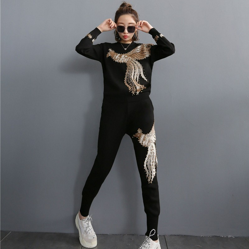 European Phoenix Embroidery Sequins Womens Kintting Set 2Pieces Long Sleeve O-Neck Pullover Tees Top Elastic Waist Jogging Pants