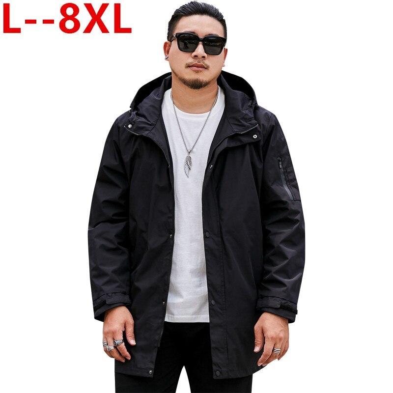 Большие размеры 8XL 6XL 5XL 4XL брендовые толстовки Тренч Мужская ветровка мужская одежда s длинное пальто черный Тренч куртка для мужчин