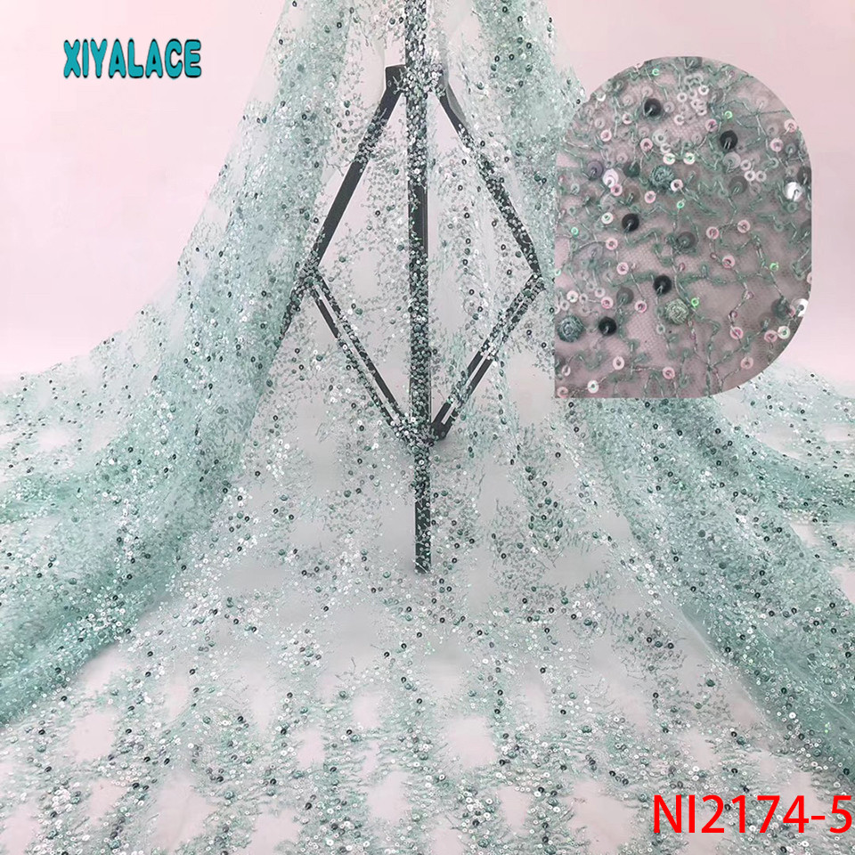 African Lace Fabric Nigeria Lace Fabric Sequins Wedding Dress Tulle Lace Party Dress New French Mesh Lace Cyan 5yards NI2174-5