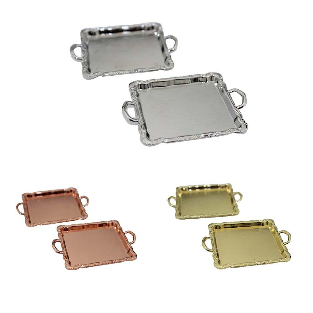 Lovely Mini Alloy Rectangle Tray Model Toy Dollhouse Miniature Accessories New