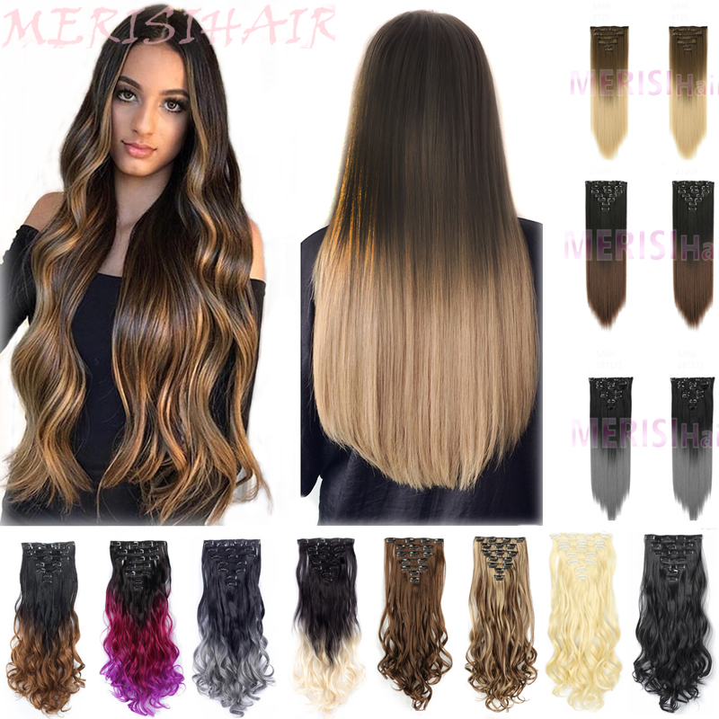 "MERISIHAIR 6 Pis/Set 22"" Hairpiece 140g Straight 16 Clips In False Styling Hair Synthetic Clip In Hair Extensions Heat Resistant"