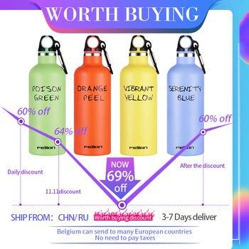 FEIJIAN botella deportiva con gancho, 500ML, botella portátil, botellas de agua de acero inoxidable, tazas, termo al vacío, 6 colores