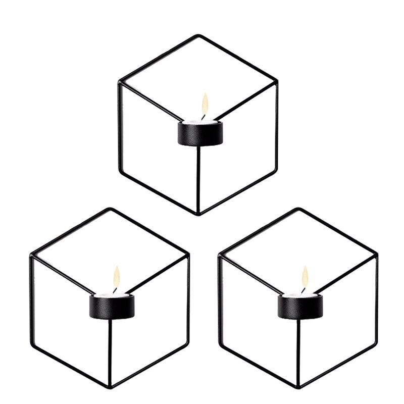 하우스 장식 노르딕 스타일 3D 기하학적 벽 마운트 캔들 홀더 금속 촛대 홈 장식, 3 Pcs