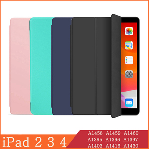 Case for iPad 2 3 4 A1460 Case Silicone Soft Back Folio Stand with Auto Sleep/Wake Up PU Leather Smart Cover for iPad 3 4 2 Case(China)