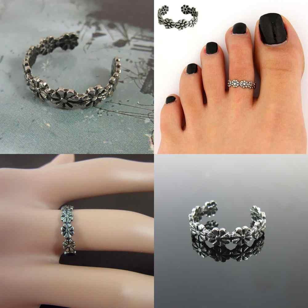 Retro Hollow Bunga Adjustable Terbuka Toe Cincin Gelang Kaki Jari Kaki Perhiasan Warna Perak untuk Wanita Fashion Anggun Lucu