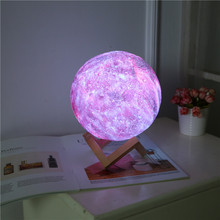 3D printing moon lamp night lamp charging 2 color touch lamp 16 color variable remote control LED romantic creative gift moon la