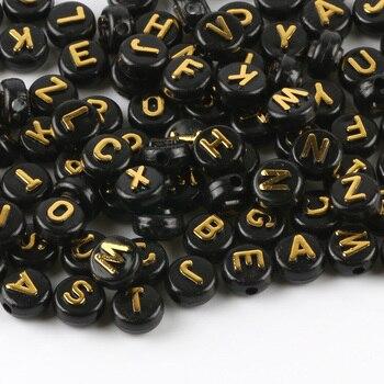 50 Uds. De cuentas espaciadoras de mezcla de alfabeto, de oro acrílico, redondas, planas, negras, 10mm, para fabricación de joyería, accesorios para pulseras Diy