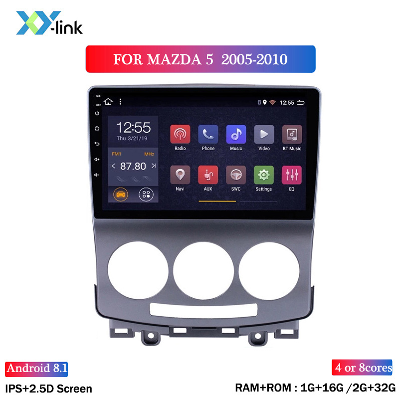HOT SALE IPS 2.5D 9 inch Android 8.1 Car Radio DVD Player for <font><b>Mazda</b></font> <font><b>5</b></font> 2005-2010 <font><b>GPS</b></font> Glonass Navigation Audio Video SWC image