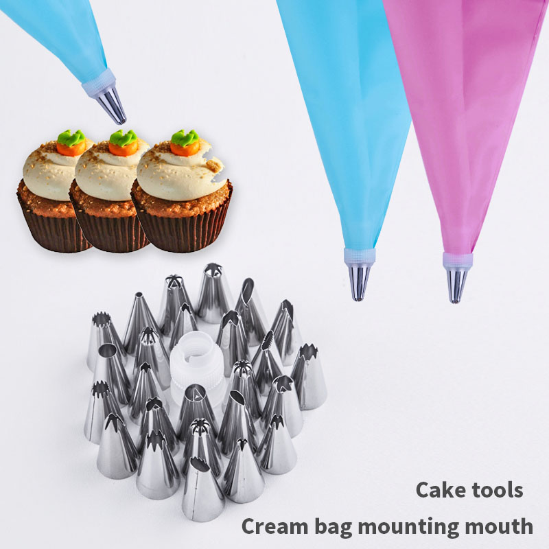 Hot 26Pcs/Set Silicone Pastry Bag Tips Kitchen DIY Icing Piping Cream Reusable Pastry Bags +24 Nozzle Set Cake Decorating Tools title=