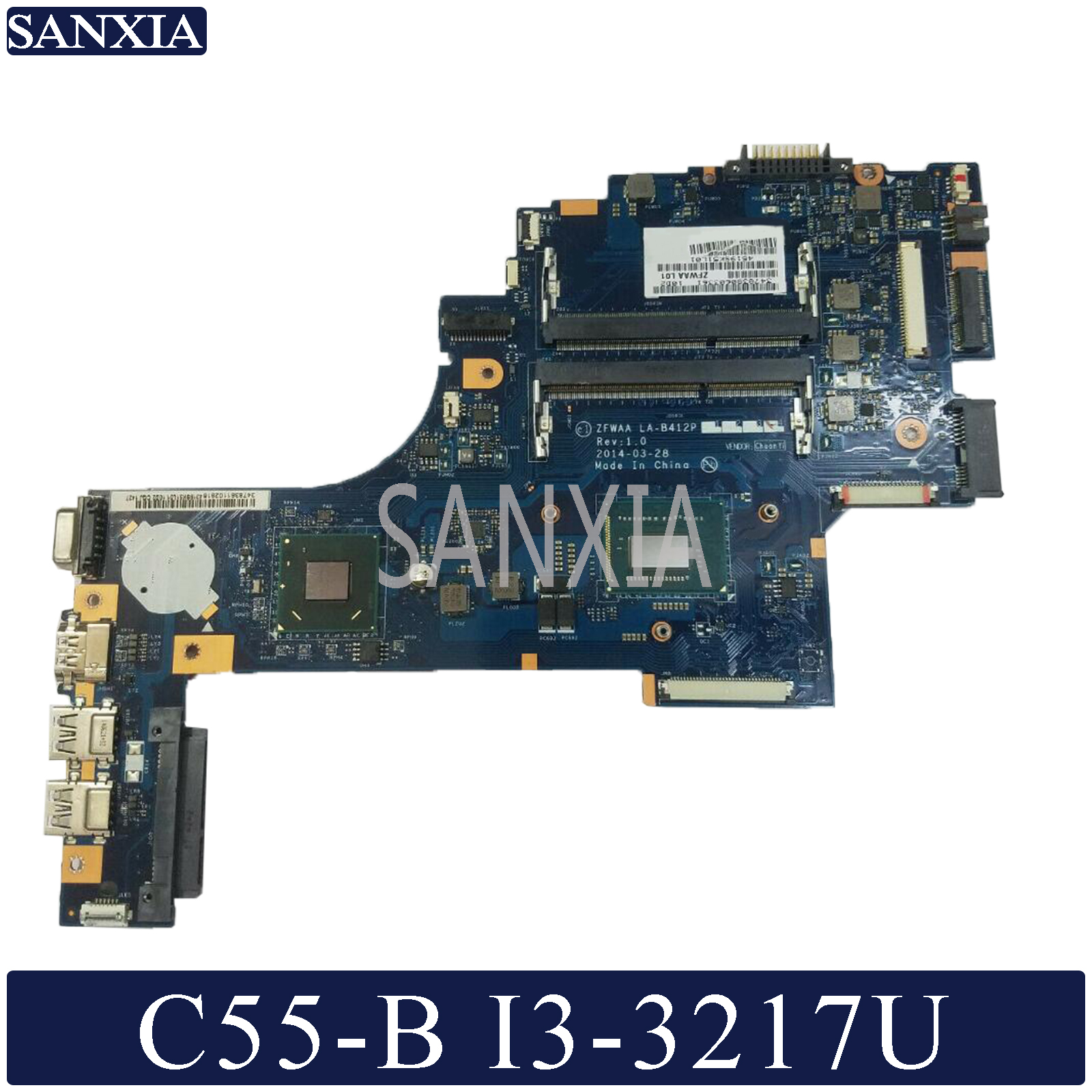 KEFU LA-B412P Laptop <font><b>motherboard</b></font> for <font><b>Toshiba</b></font> <font><b>Satellite</b></font> <font><b>C55</b></font>-B original mainboard I3-3217U image