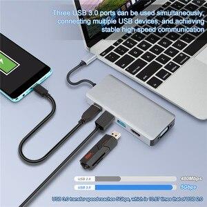 Image 2 - USB C Hub 5 IN 1 USB C HDMI VGA Dual Display Adapter con USB 3.0*3 HDMI 4K VGA 1080P @ 60HZ Thunderbolt 3 Tipo C Hub per Macbook