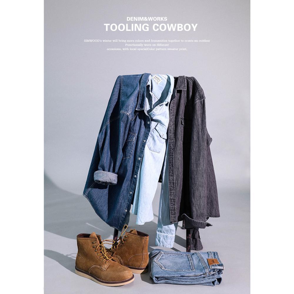 Мужская джинсовая рубашка SIMWOOD, Повседневная рубашка из 100%  хлопка с пуговицами, большие размеры, качественная брендовая одежда,  весна 2020, 190407Повседневные рубашки