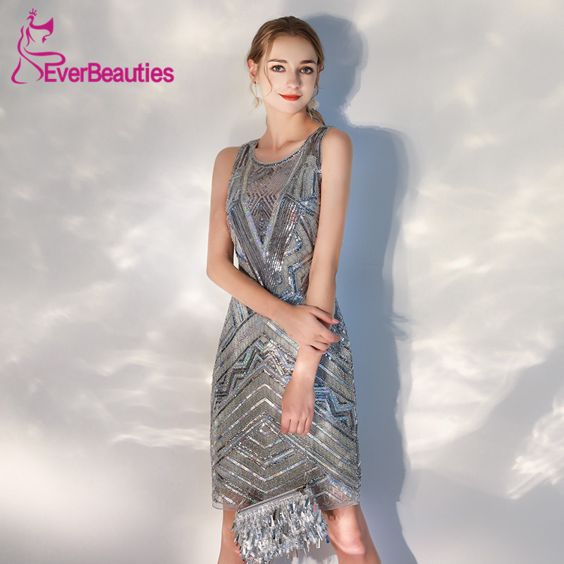 New   Cocktail     Dresses   2019 Sequins Shiny Homecoming Party   Dresses   Sexy Backless Robe   Cocktail