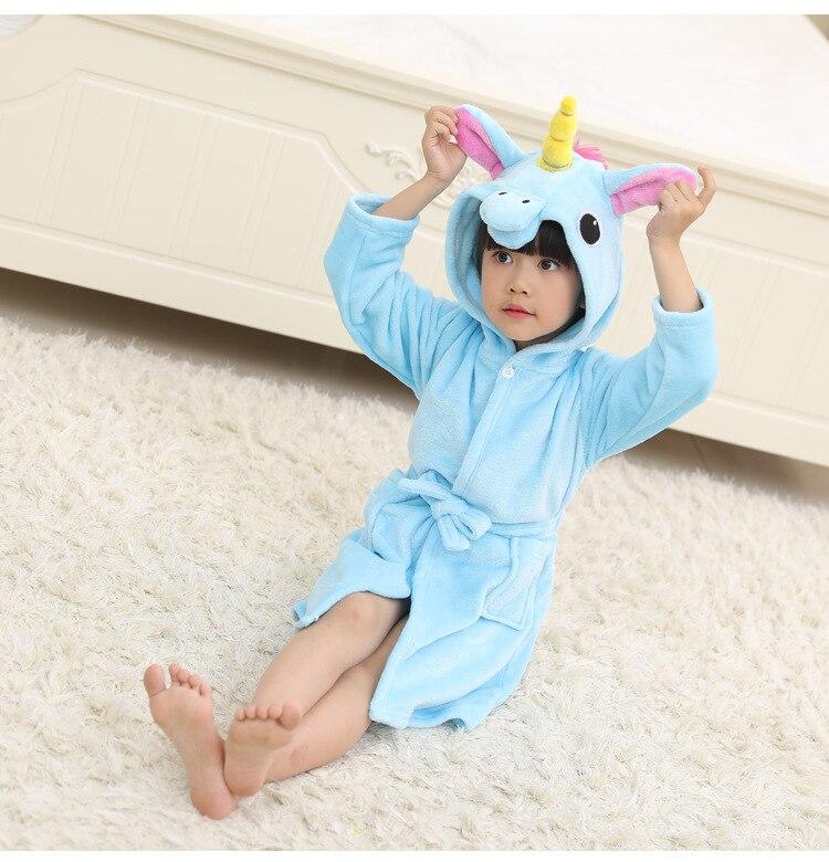 New Style Children Flannel Star Rainbow Tianma Bathrobe Cartoon Pajamas Animal Hooded Children Tracksuit Women's Robes