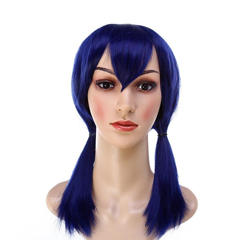 Темно-синие парики с двумя хвостиками для косплея, божья коровка, синтетические волосы для девочек, термостойкие парики из волокна для