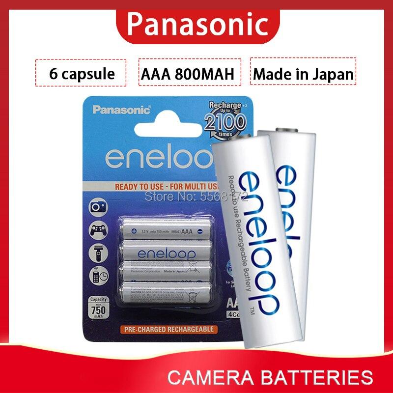 6 pces 100% panasonic eneloop baterias recarregáveis aaa 800mah 1.2v ni-mh câmera lanterna brinquedo pré-carregado