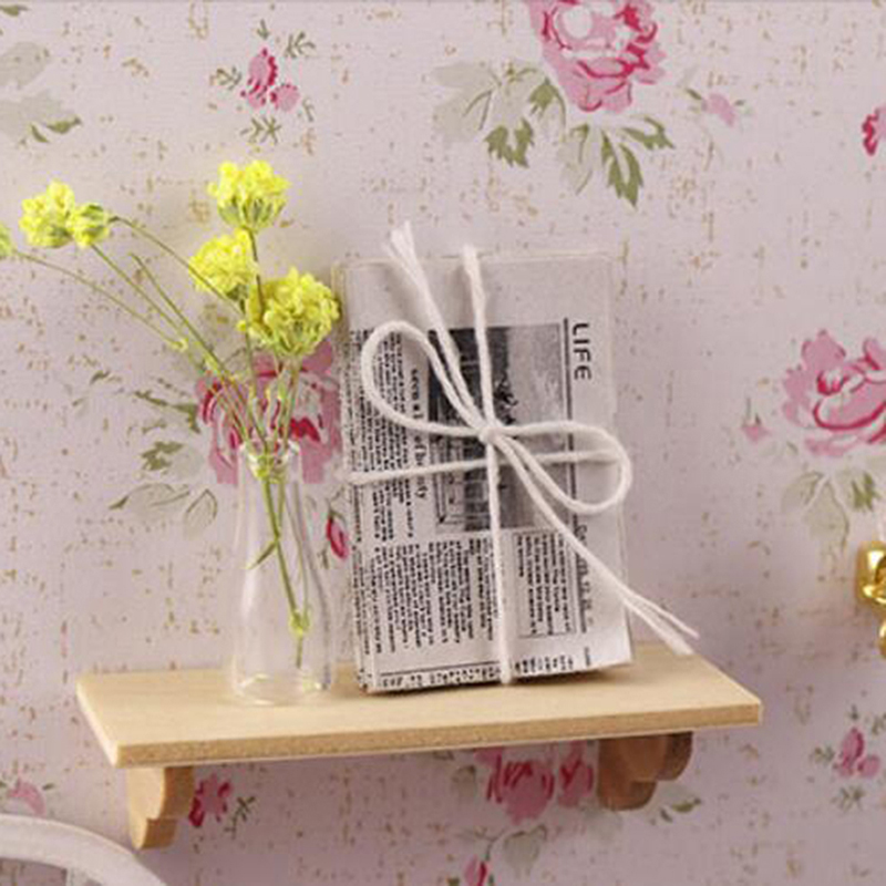 1pc Mini Accessories For Dollhouse Wooden Wall Shelf 1:12 Doll House Wall Shelf Miniature Bathroom Accessory