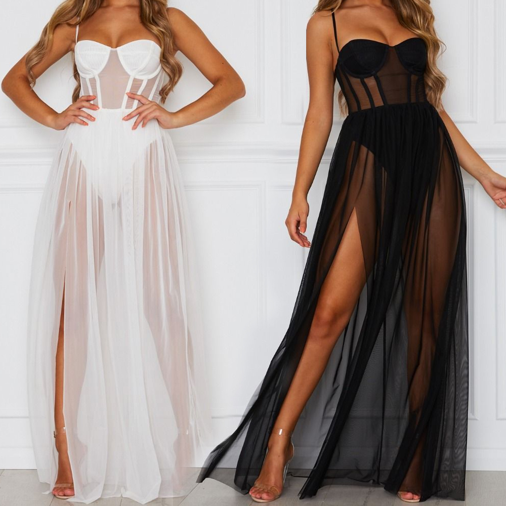 Sexy Women Mesh Sheer Sling Bikini Cover Ups Ladies Summer V-neck See Through Long Dresses Female Split High Waist Beach Dress