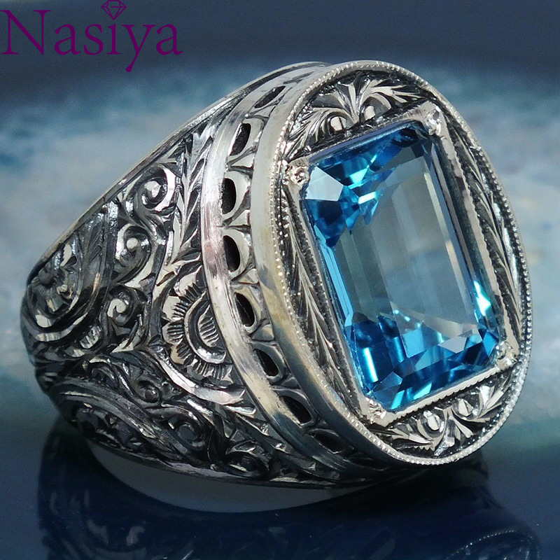 VINTAGE STYLE CARVED Hollow Blue Crystal Ring Luxury Silver Gemstone Jewelry For Men Women Birthday Anniversary Gift