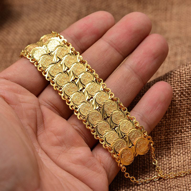Gold Color Coins Bangles&Bracelet for Women Men Money Coin Bracelet Islamic Muslim Arab Middle Eastern Jewelry African Gifts