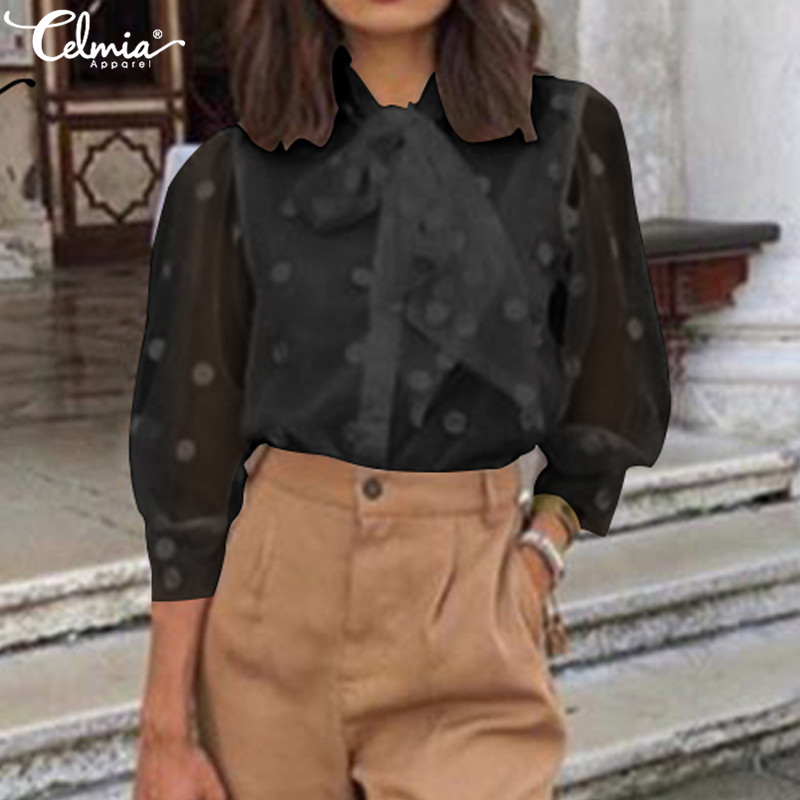 S-5XL Women Celmia Summer Blouses 3/4 Sleeve Bow Tie Casual Loose Tunic Shirts 2019 Vintage See-through Mesh Tops Femme Blusas